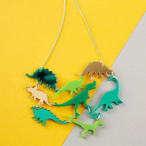 Green Dinosaur Gang Acrylic Necklace