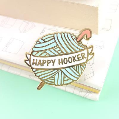 Happy Hooker Crochet Ball Lapel Pin