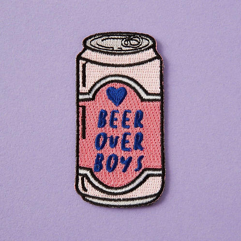 Beer Over Boys Embroidered Iron On Patch