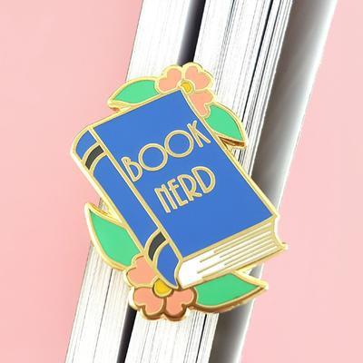 Book nerd lapel pin