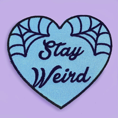 STAY WEIRD BLUE HEART EMBROIDERED PATCH