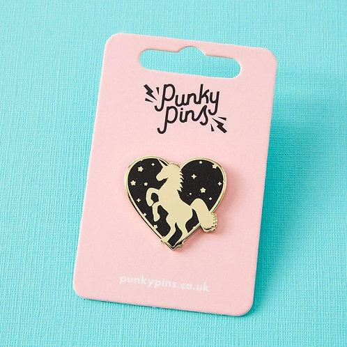 Unicorn Heart Enamel Pin Black