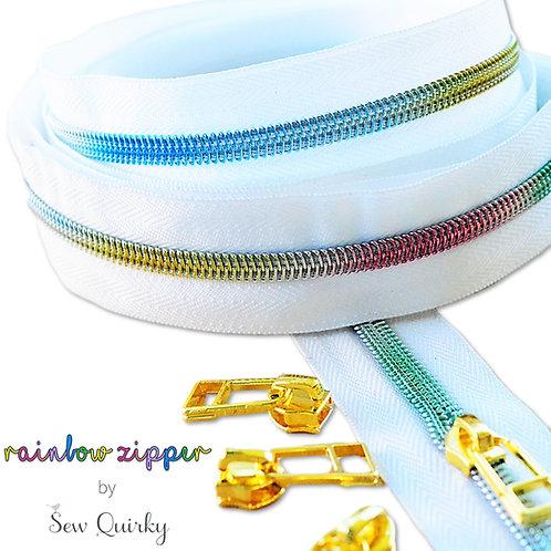 3m white zipper with rainbow teeth + 8 pulls