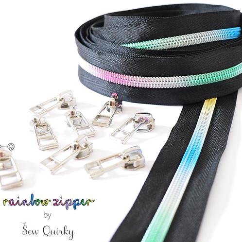3m black zipper with rainbow teeth + 8 silver pulls