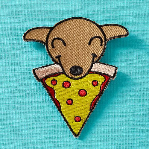 Pups and Pizza Embroidered Iron On Patch