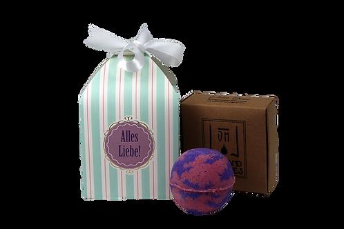 Geschenkbox gestreift, 1 Badebombe, 1 Seife