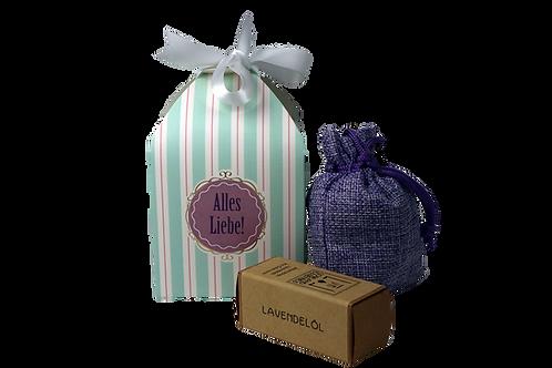 Geschenkbox gestreift, 1 Lavendelsackerl, 1 Lavendel Öl