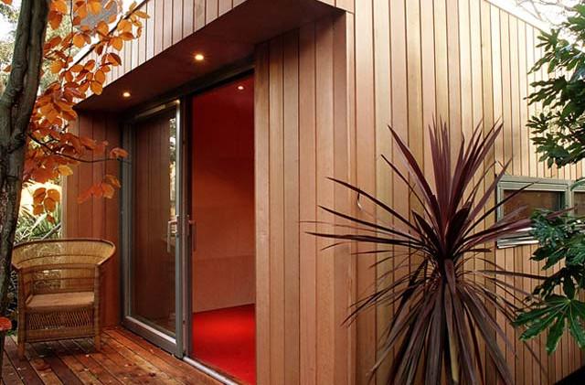 Wood clad garden office studio-space