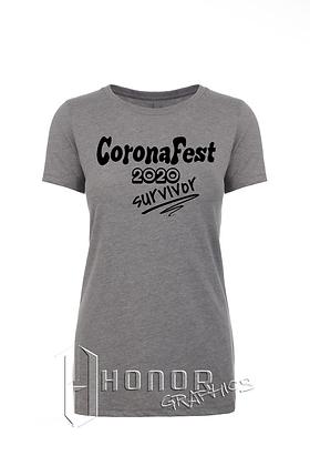 CoronaFest Ladies Heather Grey Tee