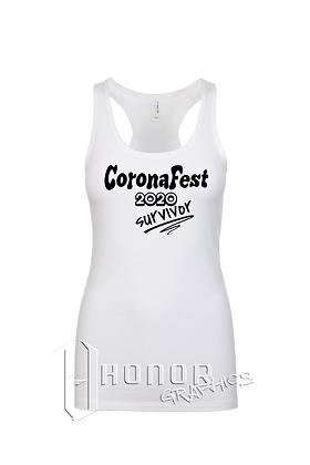 CoronaFest Ladies Spandex White Racerback
