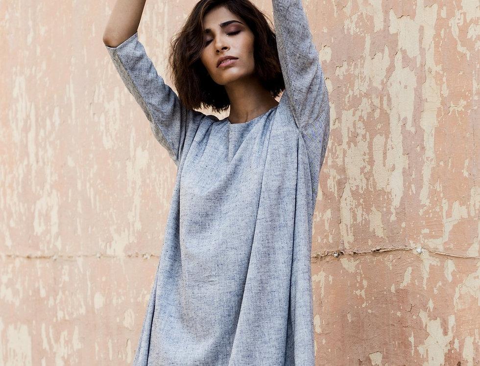 Eri Peace Silk Trapeze Dress | indigo chambray