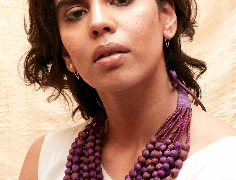 Sari Bead Necklace - 12 string   amethyst