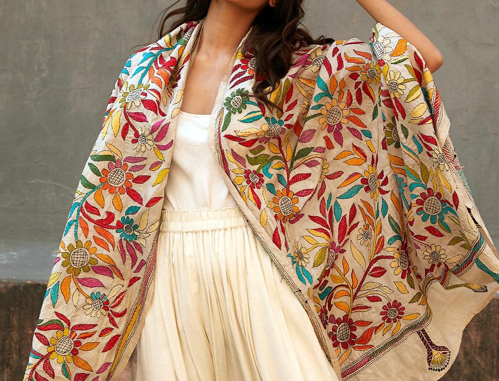 Nakshi Kantha Wrap | full bloom VI