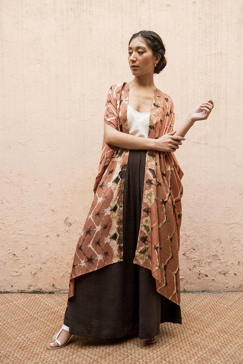 Itajime Silk Dune Robe | terracotta