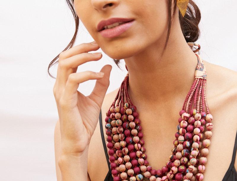 Sari Bead Necklace - 12 string | shades of pink