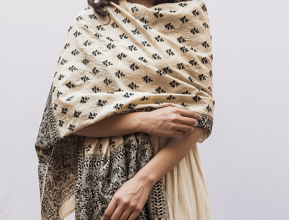 Nakshi Kantha Shawl | bleached ivory