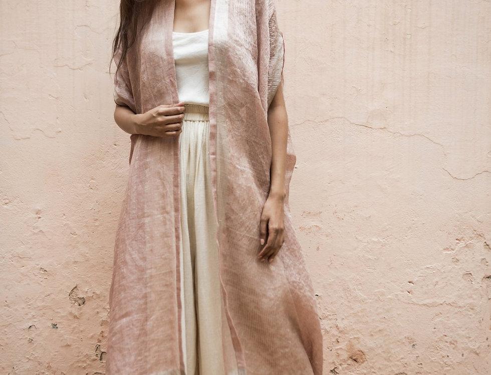 Lineya Linen Dune Robe | blush & silver