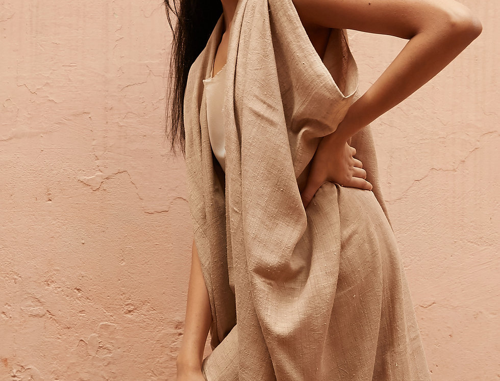 Mulberry Peace Silk Dune Robe | walnut grey