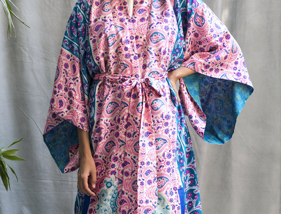 Silk Sari Kimono | block print in neon