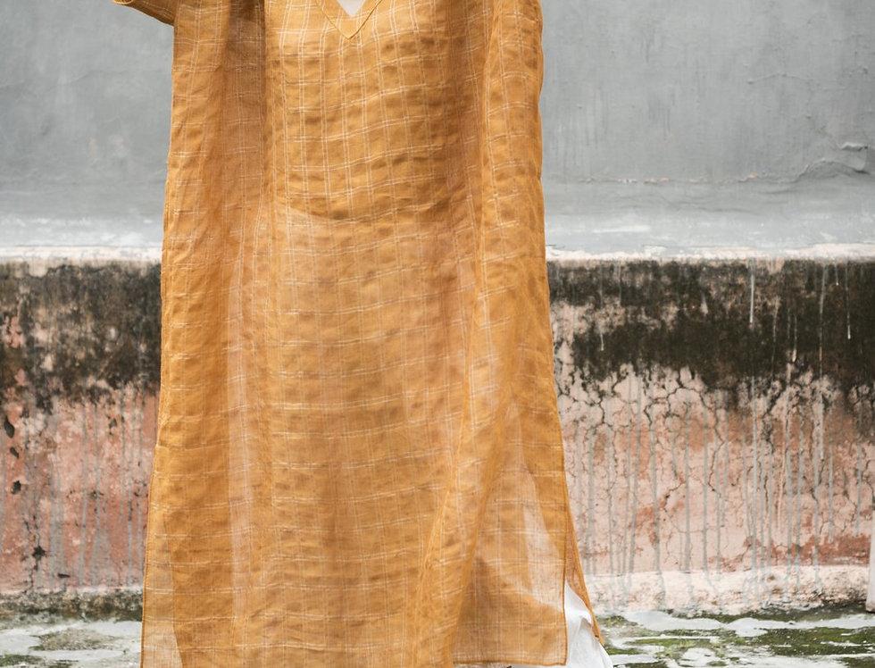 Lineya Linen Box Dress | saffron & silver