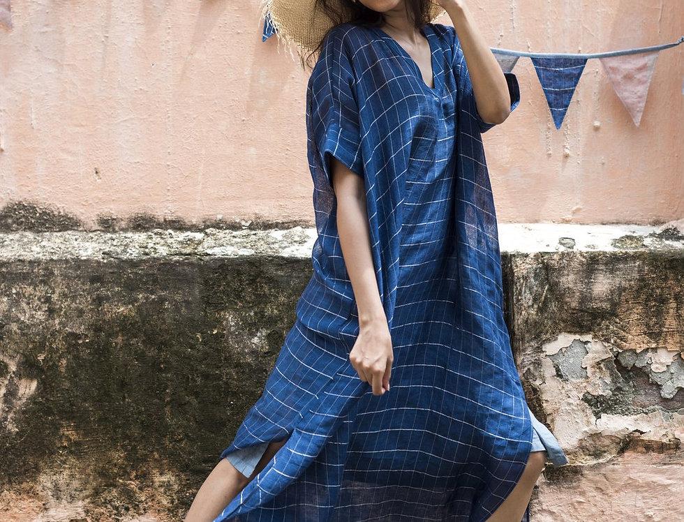 Lineya Linen Box Dress | indigo & silver