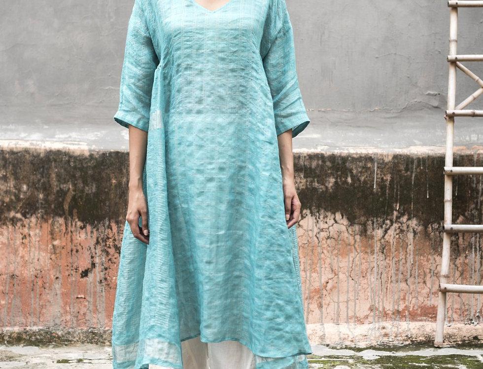 Lineya Linen Milos Dress | caribbean blue & silver