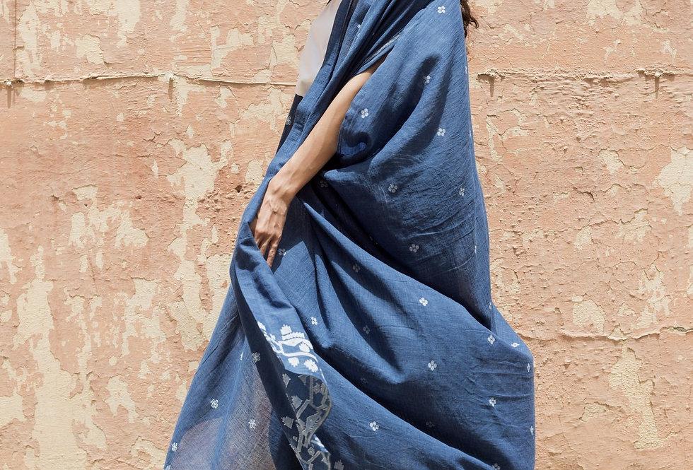Dune Robe   heirloom jamdani indigo