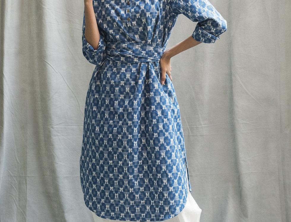 Kasuri Nehru Dress   indigo