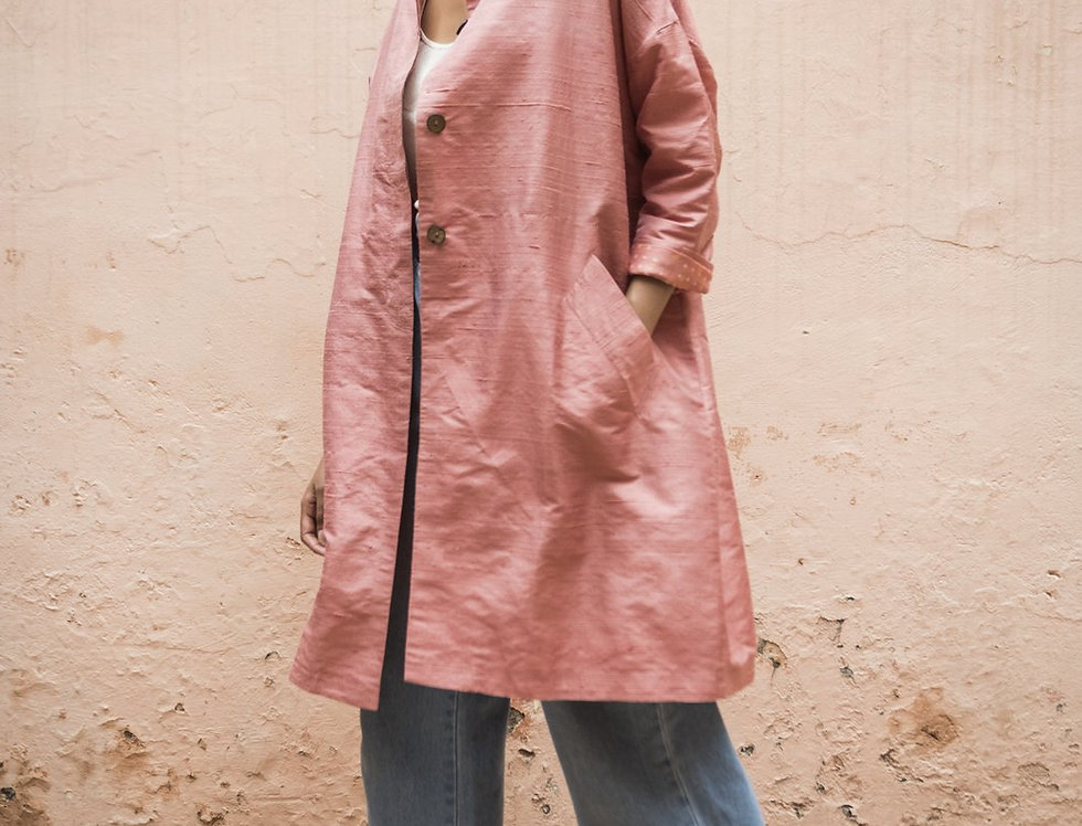 Raw Silk Cocoon Coat | rose quartz