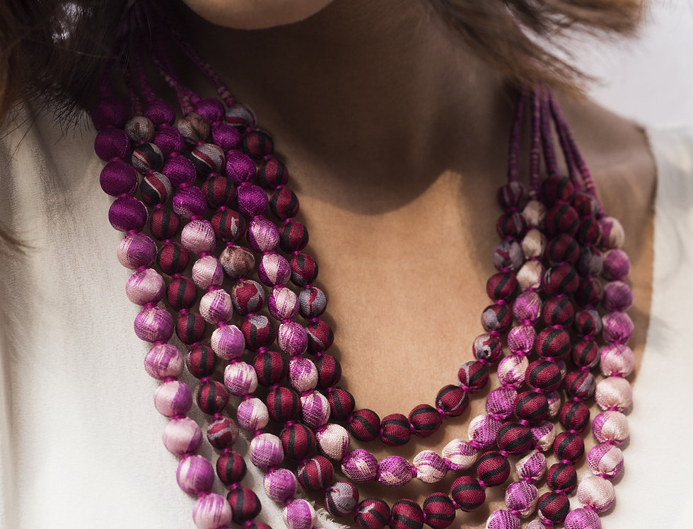Sari Bead Necklace - 6 string | purple haze