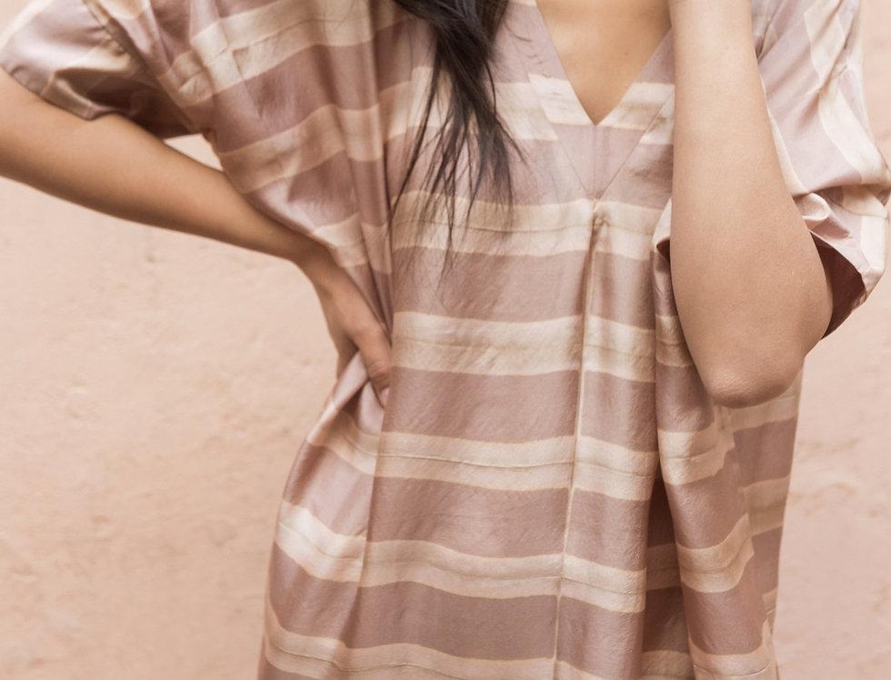 Itajime Silk Box Dress   misty lilac