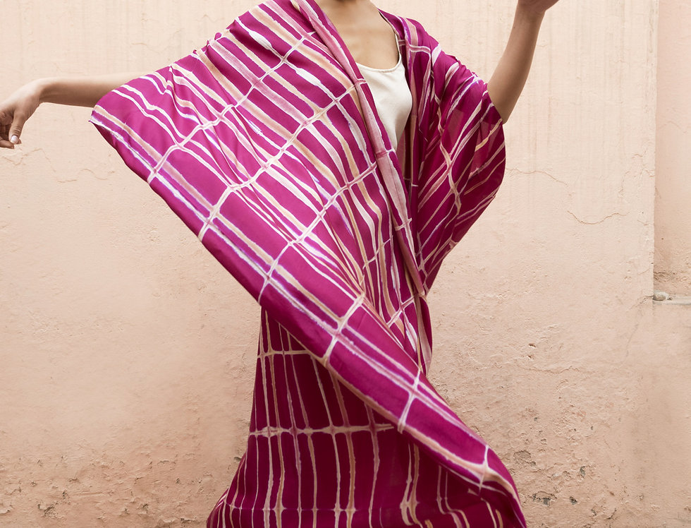 Itajime Silk Dune Robe | rani pink