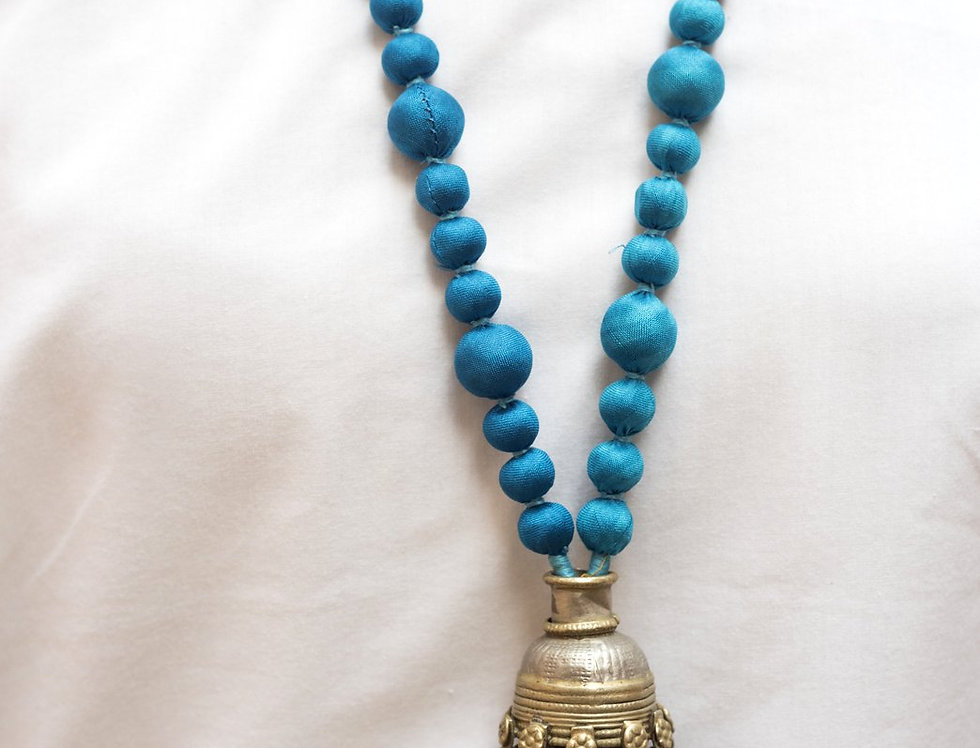 Sari Bead Necklace - jhumka | turquoise