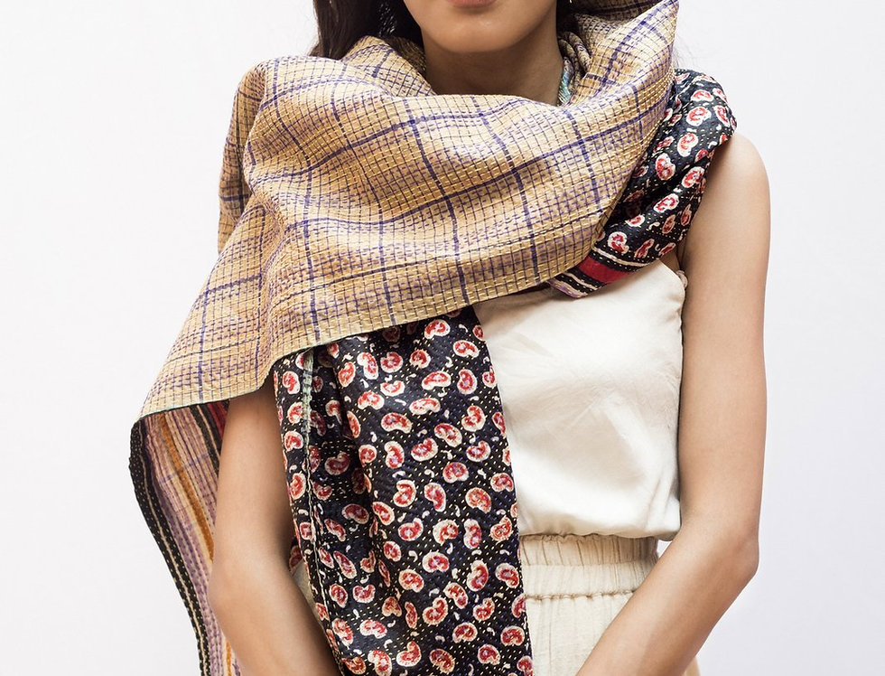 Kantha Sari Wrap | block print x check