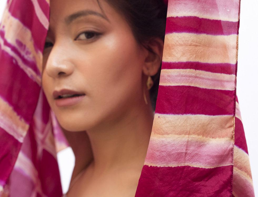 Itajime Silk Scarf | rani pink
