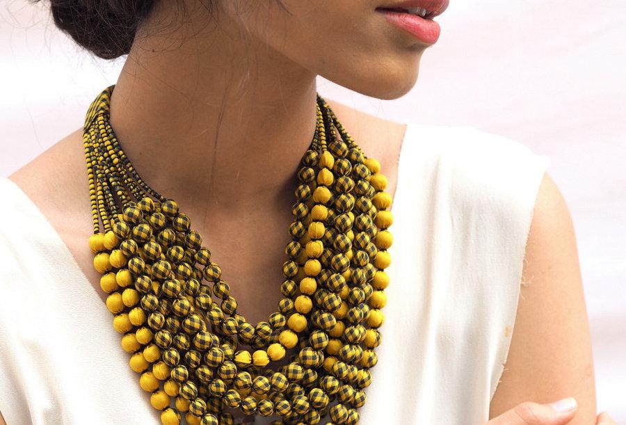 Sari Bead Necklace - 12 string | bumblebee