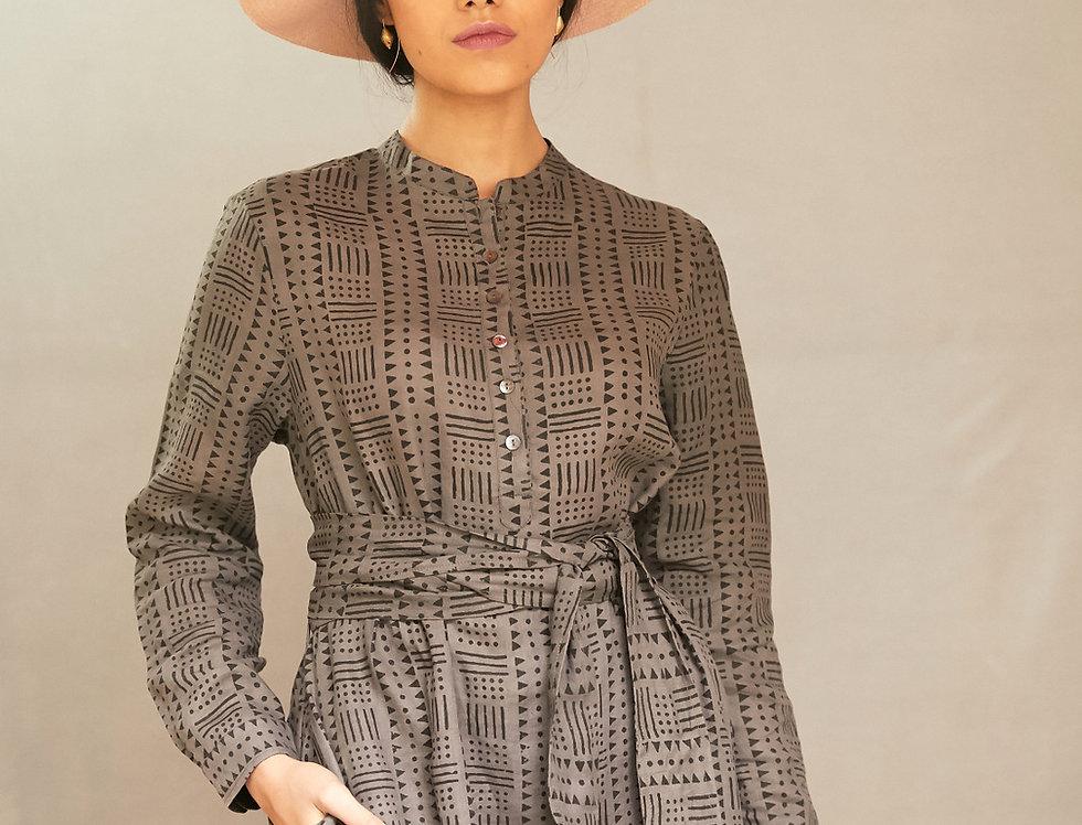 Dabu Linen Nehru Dress