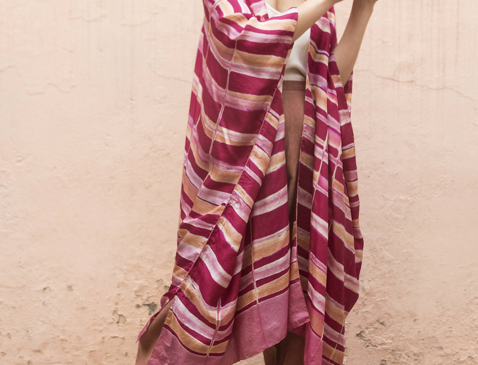 Itajime Silk Reza Robe   rani pink