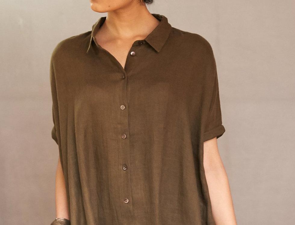 Natural Dye Linen Artist Dress | olive