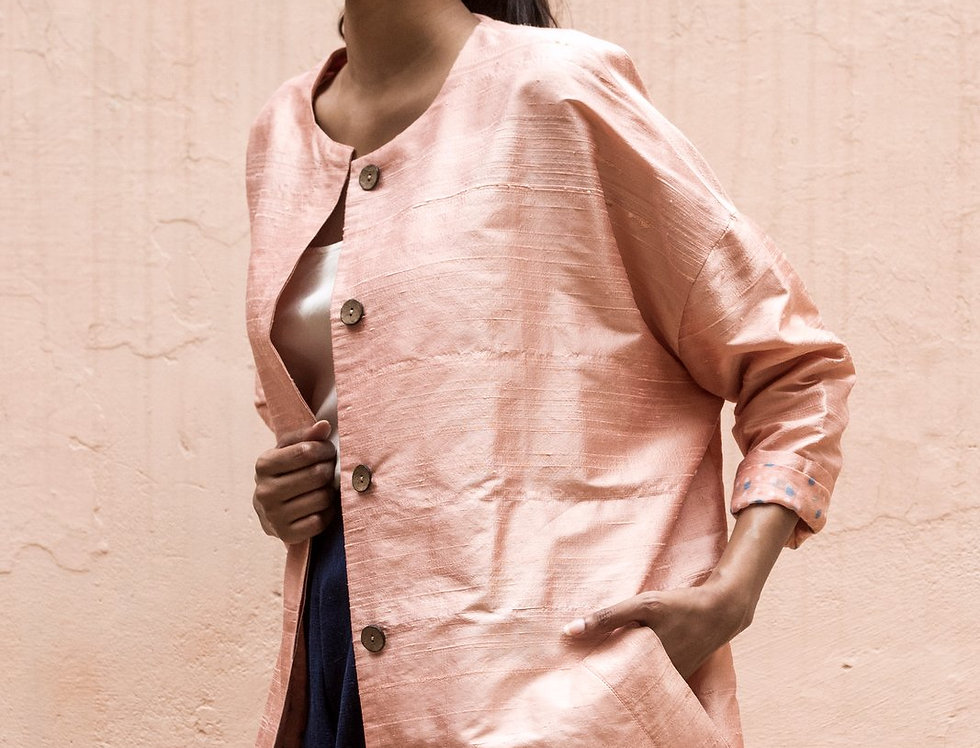 Raw Silk Cocoon Coat | pink opal