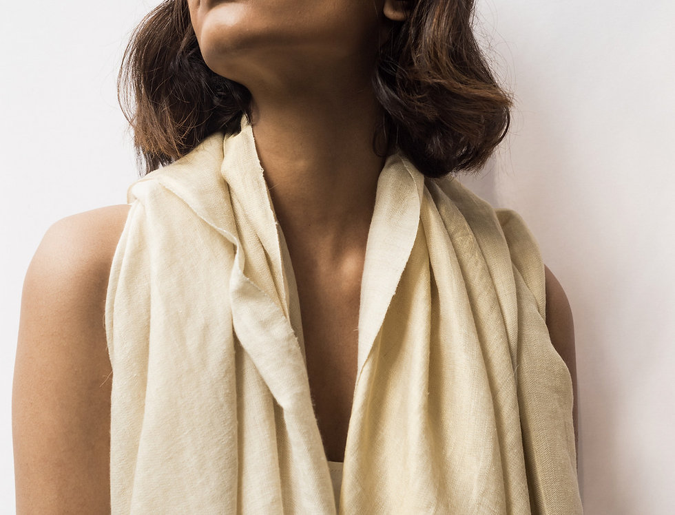 Pashmina Double Wrap | natural ivory & gold