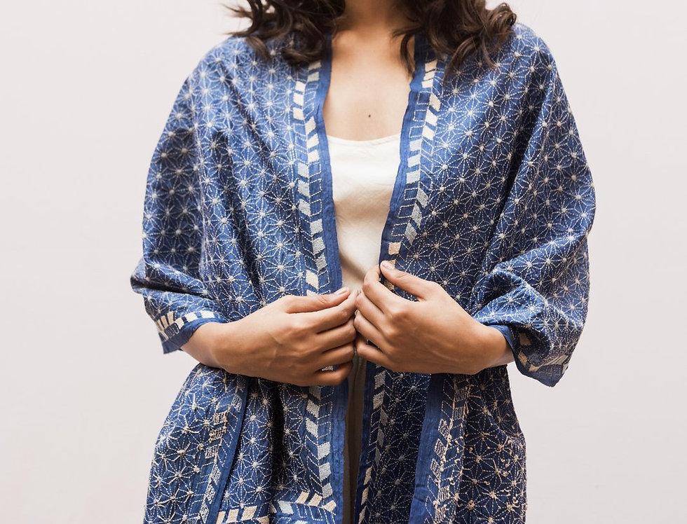 Nakshi Kantha Scarf | lapis lazuli