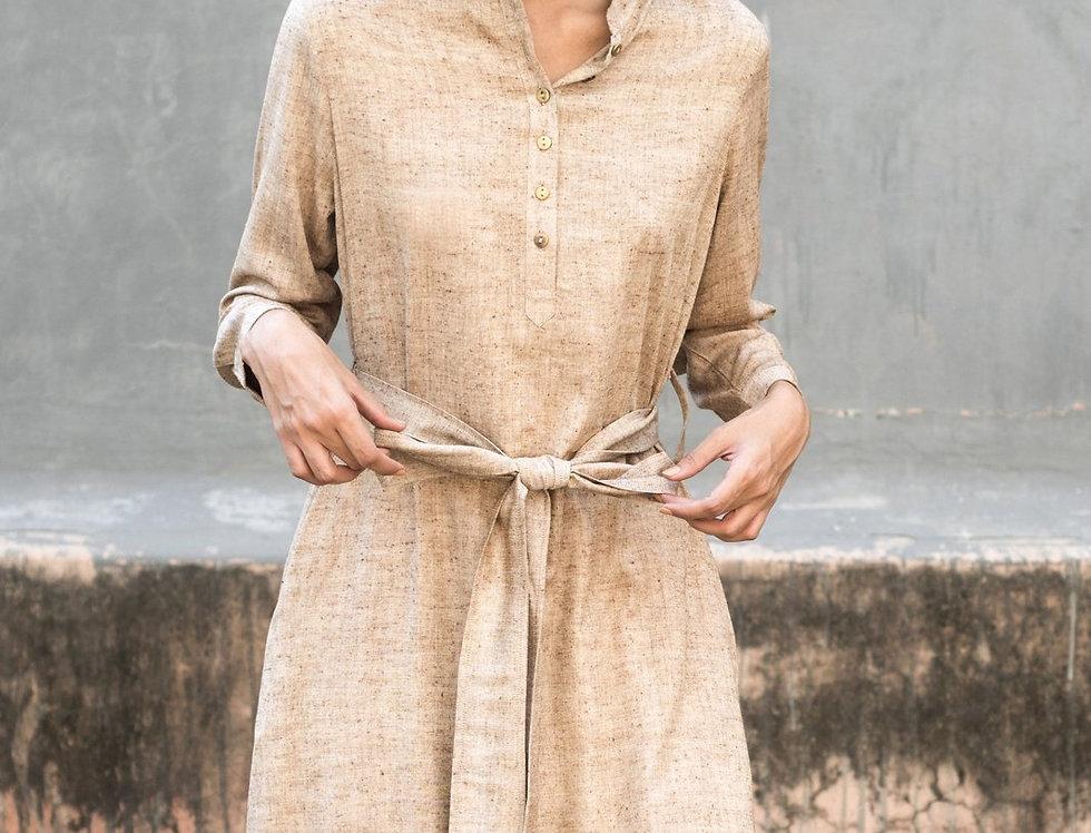 Eri Peace Silk Nehru Dress | ochre chambray