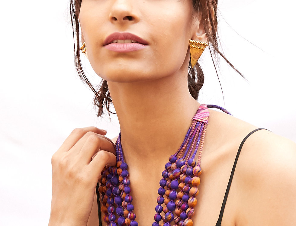 Sari Bead Necklace - 6 string | purple & gold ikat
