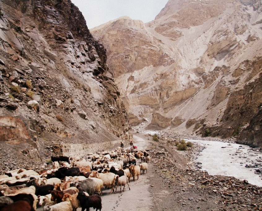 The Karakoram Highway through the Khunjerab National Park.