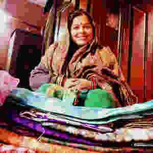 Sourcing vintage saris in New Delhi