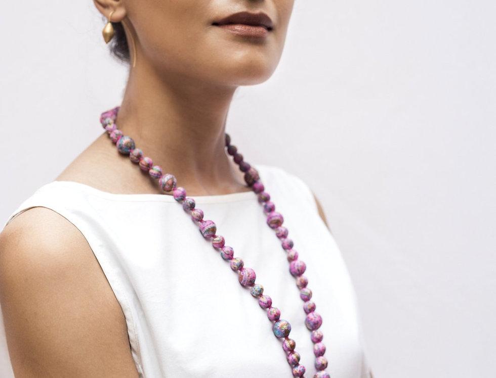 Sari Bead Necklace - jhumka | rose