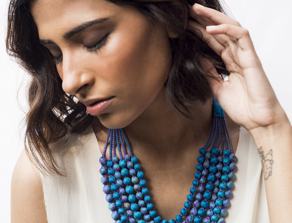 Sari Bead Necklace - 6 string | sky blue