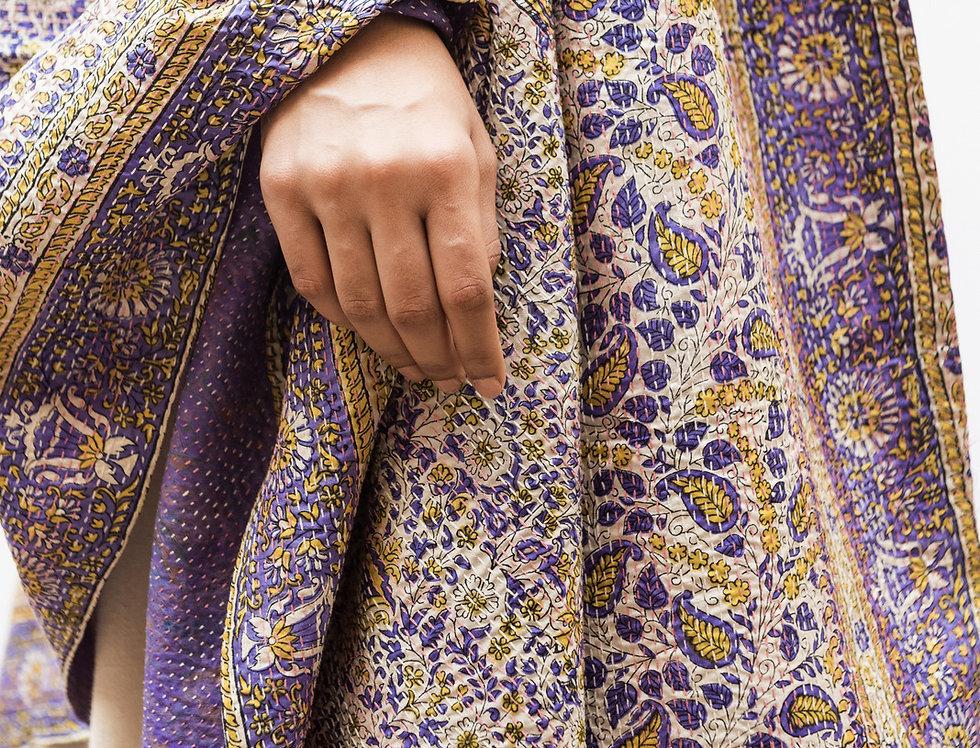 Kantha Sari Wrap | block print in lavender