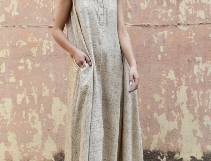 Balkal Peace Silk Maxi Dress   golden beige
